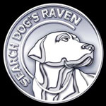 Search Dog's Raven Coin Logo, white metal embossed search dog.