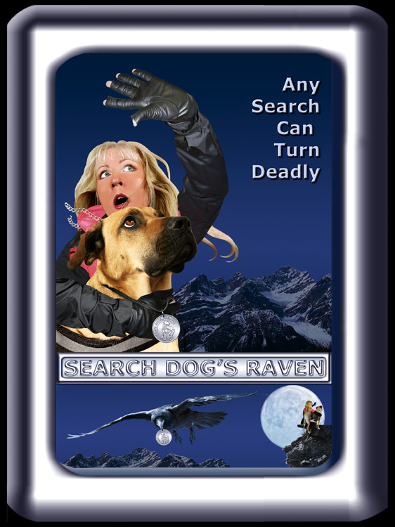 Search Dog's Raven Poster Art, a handler and her search dog cringe in terror at the edge of a snowy mountain cliff.