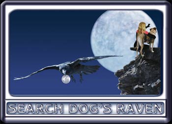 As a raven flies away with their coin card, a young woman and her search dog cringe in terror at the end of a cliff.  The dog is a Rhodesian ridgeback cross, with a black muzzle, dark ears and reddish tan fur.  Wearing a black search suit, with orange trim, the attractive handler has long blonde hair.