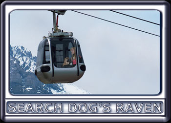 While riding a gondola, a young woman and her search dog brief their new search liaison.  The dog is a Rhodesian ridgeback cross, with a black muzzle, dark ears and reddish tan fur.  Wearing a black search suit, with orange trim, the attractive handler has long blonde hair.