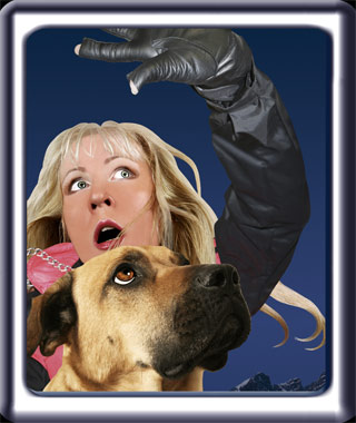 A young blonde handler is shown hugging her search dog in terror.  The dog is a black muzzled ridgeback cross.